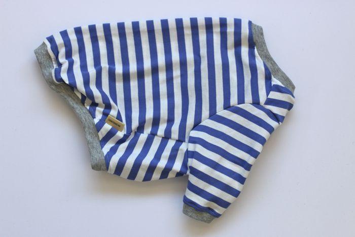 画像1: 青×白ボーダー長袖Tシャツ