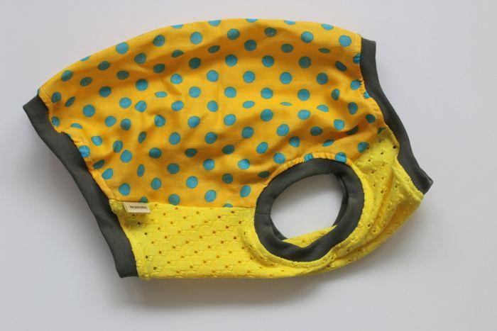 画像1: ガーゼタンク 水色×黄色ドット
