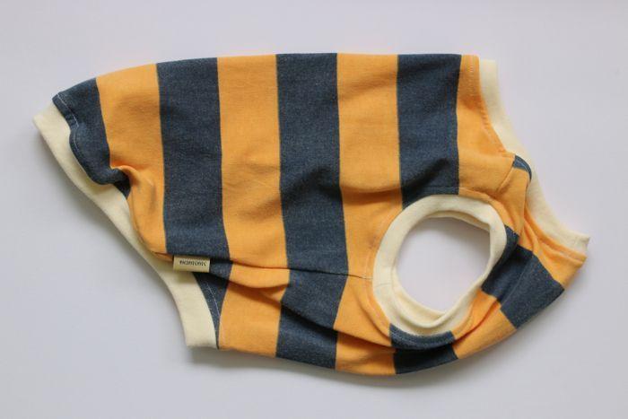 画像1: 【Choice】ウォッシュ加工中太ボーダータンク 紺×オレンジ