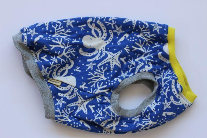 画像1: 海の生き物柄国産接結生地タンク 青